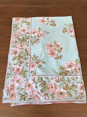 """April Cornell TABLECLOTH Rectangle Cotton Blue Pink Rose Floral Spring 84""""x57"""""""