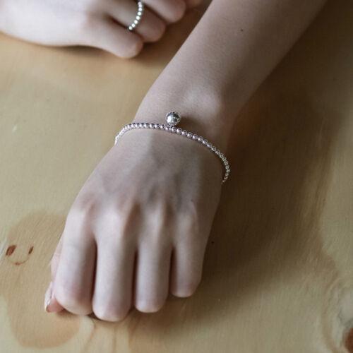 3 mm Femmes S925 Véritable Argent Sterling classique Boule Perle Chaîne Bracelet Bangle