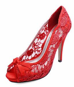 LADIES RED SATIN LACE PEEP-TOE SLIP-ON