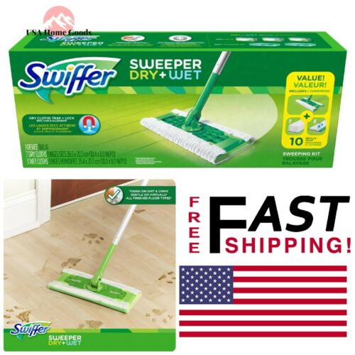 SWIFFER Dry Wet Mop Starter Kit Home Hardwood Floor Sweeper Cleaning Dirt Trap