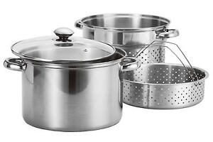 8Qt-Quart-Stainless-Steel-4pc-Stock-Pot-w-Deep-Pasta-Multi-Cooker-amp-Steamer