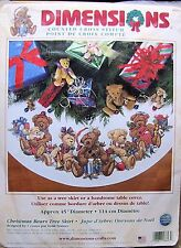 Dimensions Counted  Cross Stitch Christmas Bears Tree Skirt Teddy Bears HTF
