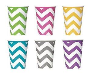 CHEVRON-Range-of-PAPER-PARTY-CUPS-Pack-of-6-Unique-Tableware-Birthday-Kids