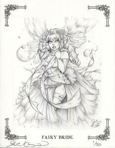 FAIRY BRIDE ELF ELFIN WING BRIDAL GOWN FANTASY HAND SIGNED ART PRINT 1/50 L/E
