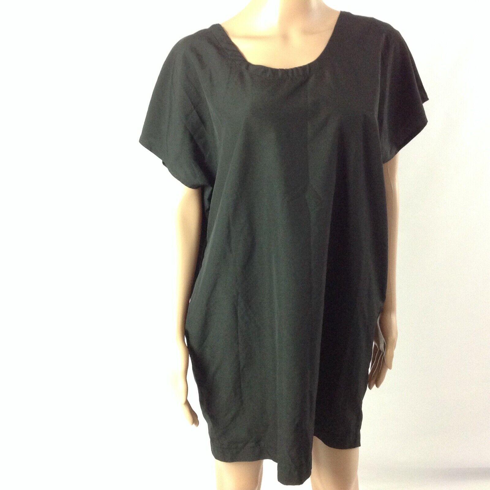 Vince damen Silk Tunic Top Größe S M  schwarz Solid Dolman Sleeve Shortsleeve