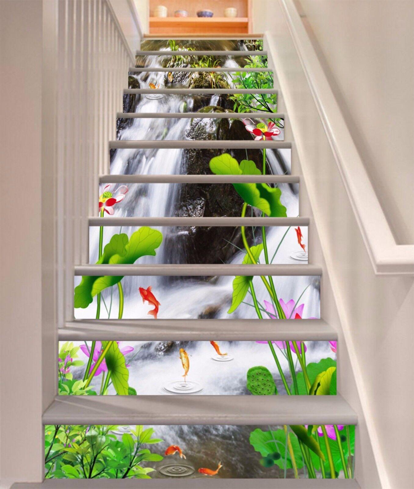 3D Poissons Lotus 37 escaliers contremarches Décoration Photo Murale Autocollant Vinyle Papier Peint US