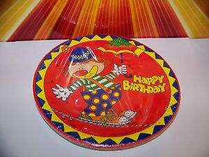 Image is loading Vintage-1981-Clown-Paper-Plates-Happy-Birthday-80s- & Vintage 1981 Clown Paper Plates Happy Birthday 80s Party Clowns ...