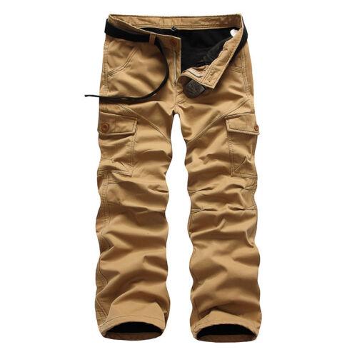 Men Winter Cotton Fleece Lined Cargo Combat Work Pockets Long Pants Trousers Lot