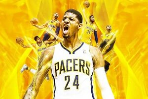 8b41f235aec Image is loading NBA-Indiana-Pacers-Paul-George-24x36-Yellow-Glossy-