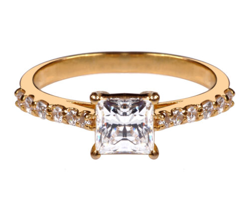 14KT Yellow Gold 2.50CT Top Quality Princess Shape Solitaire Anniversary Ring
