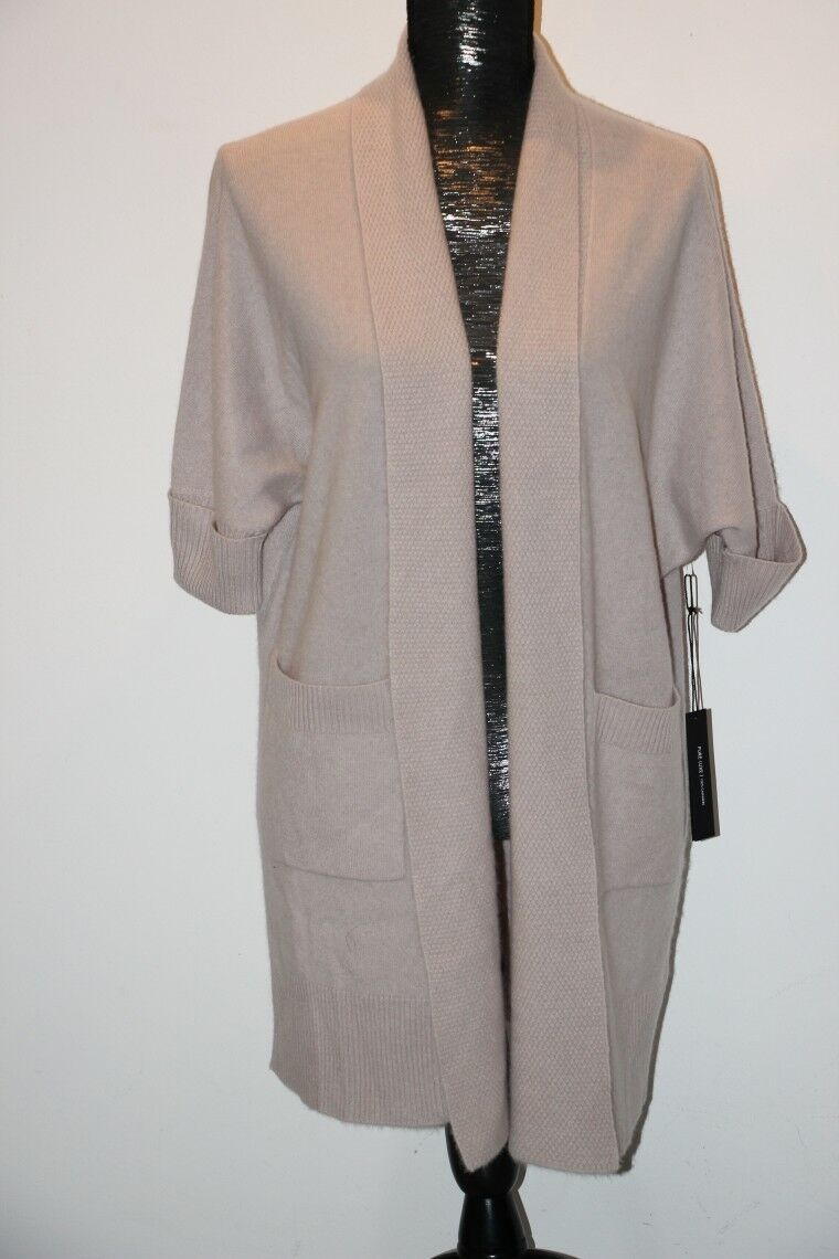 Tahari Pure Luxe 100% Cashmere, Shawl Open Front 3 4 Dolman Sleeve Super Soft M