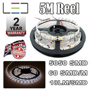 5m 12v Cool White LED Strip Light 5050 300SMD 18LM/SMD 60SMD/m Bright Waterproof