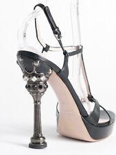 New  Miu Miu by Prada Black Sandals with Crystal Heel Size 38 US 8