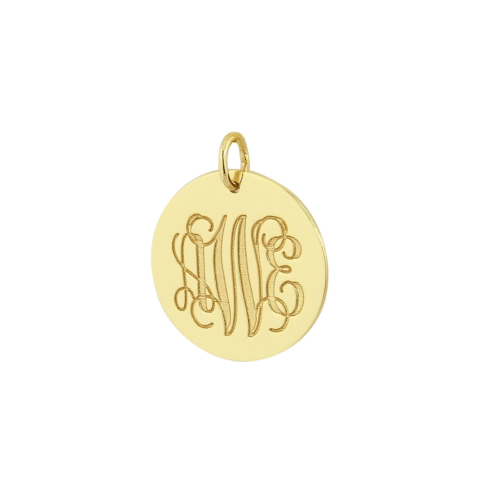 Solid gold 3 Initials Monogram 3 4  Circle Disc Charm Pendant Made in USA GC08