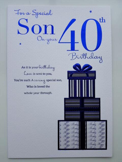 40th SON IN LAW BIRTHDAY CARD AGE 40 ~ MODERN DESIGN QUALITY CARD