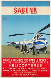 Affiche-Originale-SABENA-Helicoptere-Sikorsky-Aviation-1955