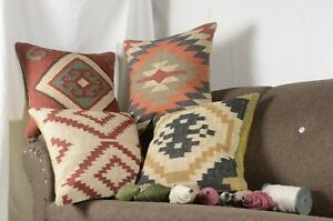 4 Set of Vintage Pillow Hand Woven Jute 18x18 Cushion Cover Rustic Pillows 9090