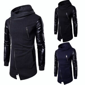 Fashion-Mens-Patchwork-Leather-Hoodie-Long-Sleeve-Casual-Oblique-Zipper-Pullover