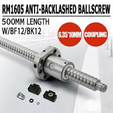 1 ANTI BACKLASH BALLSCREW BALL SCREWS RM1605-500MM-C7+BK//BF12+2PCS COUPLERS