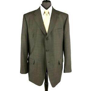 Jones-New-York-mens-brown-color-Glen-Check-wool-cashmere-blazer-jacket-46L-48L