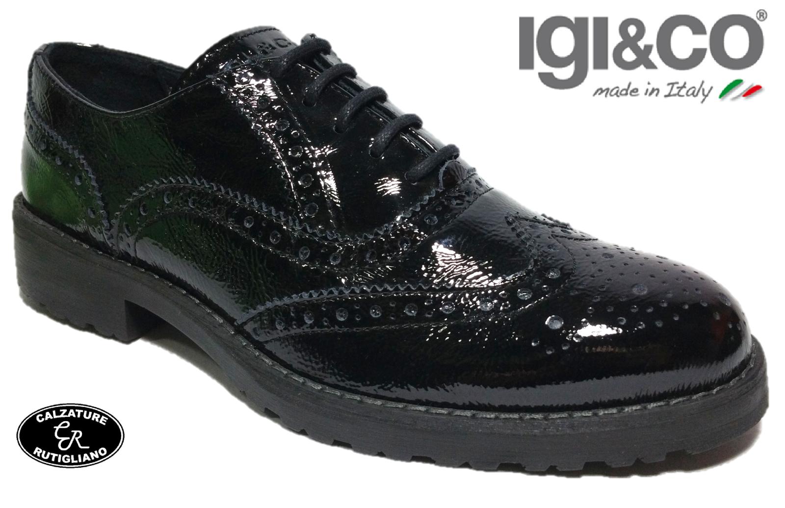 IGI&CO MADE IN ITALY SCARPE DONNA scarpe da ginnastica VERNICE NERO PLANTARE ESTRAIBILE-88082