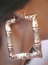 LARGE SQUARE HOOP BAMBOO EARRINGS GOLD TONE BAMBOO 2.5 INCH wide 3 INCH LONG