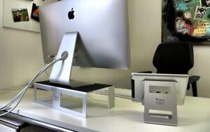 Luxus-Monitor-Halterung-fuer-iMac-Aluminium-Silber-mit-Leder