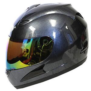 Motorcycle-Full-Face-Helmet-Carbon-Fiber-Black-One-Free-Clear-Shield-as-Bonus