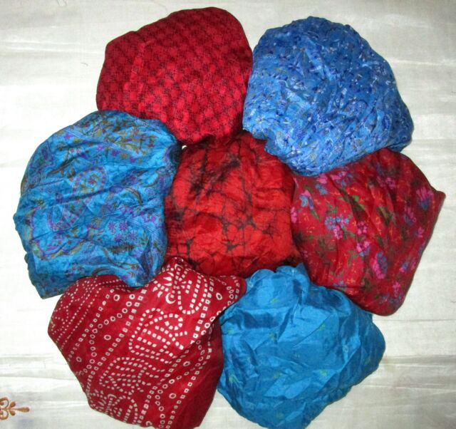 UK LOT PURE SILK Vintage Sari REMNANT Fabric 7 Pcs 1 foot ech Blue Maroon #,AQOF