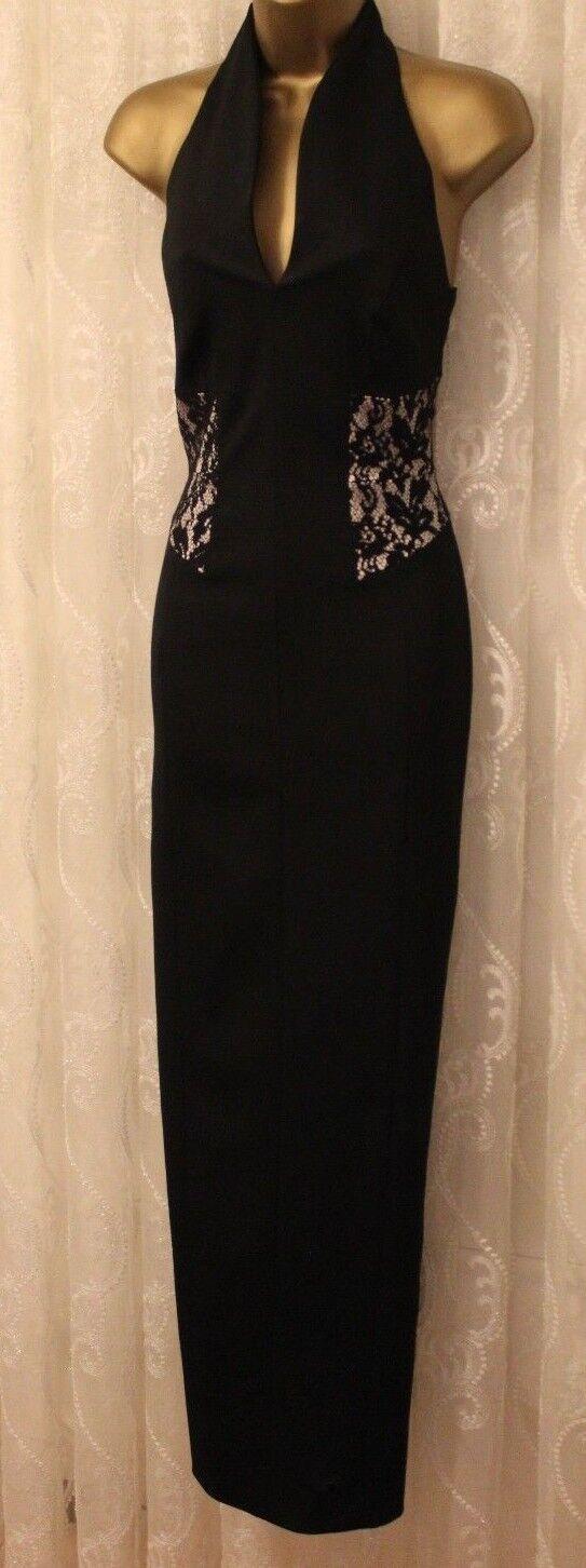 Karen Millen High Neck TailGoldt Lace Pencil Party Maxi Dress DZ178 UK 10 38