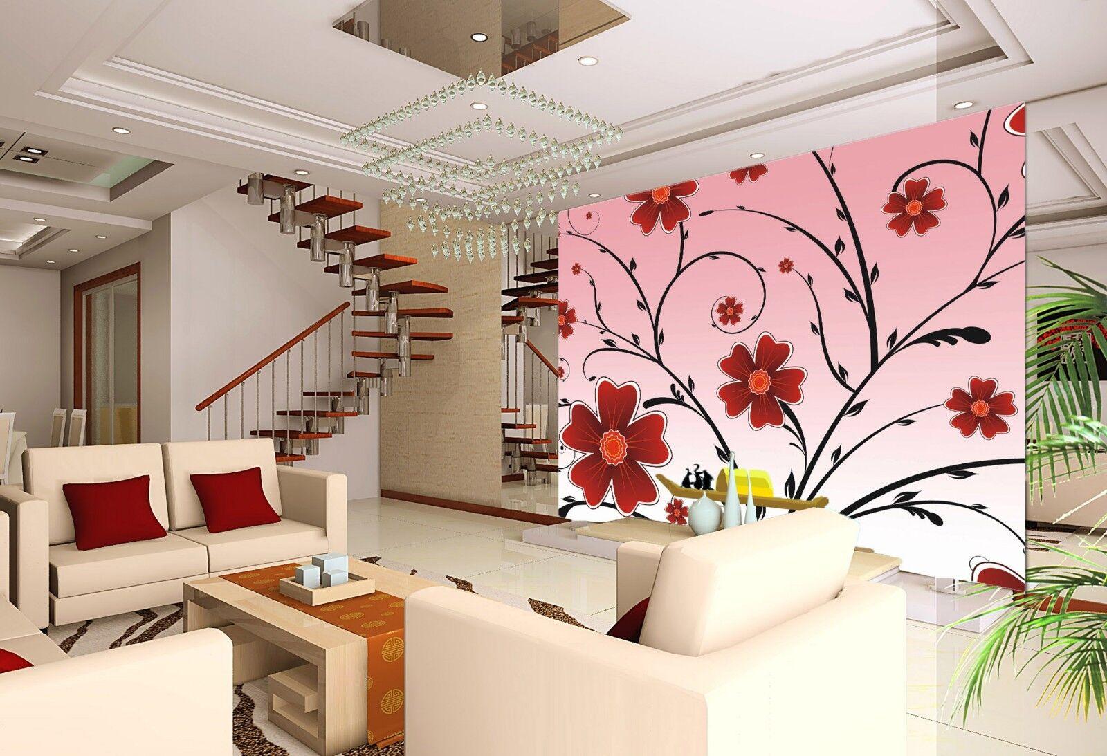 3D Cartoon Flowers vine Wall Paper Print Decal Wall Deco Indoor wall Mural