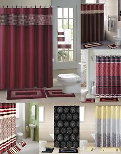 15pc Shower Curtain Fabric Hooks Bath Mats Rugs Complete