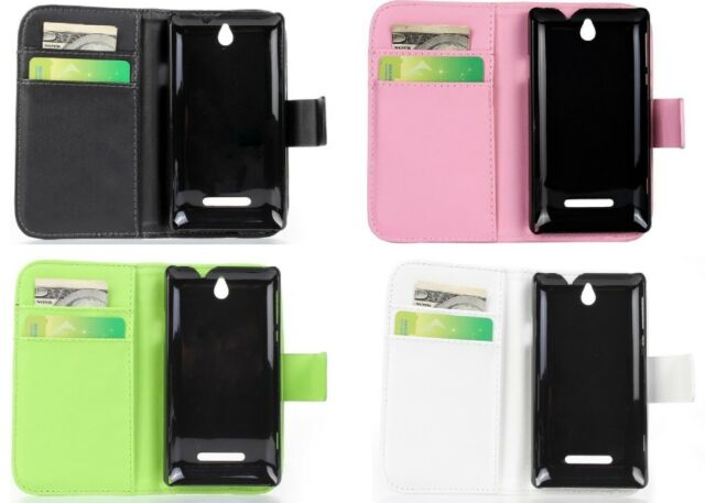 1 PU Leather Wallet Card Case Cover Protector For Sony Xperia E Dual C1605 C1505