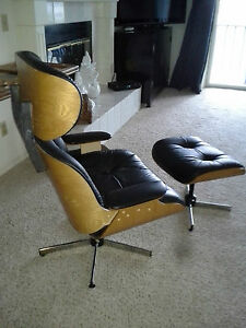 Mid century modern plycraft selig eames style lounge chair ottoman atomic ranch ebay - Selig eames chair ...