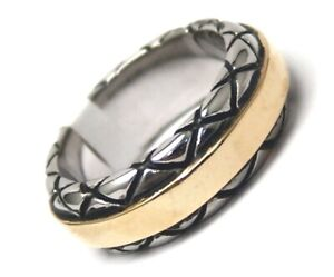 Men-039-s-Gold-PVD-Ring-Stainless-Surgical-Steel-2-Tone-Size-10-Biker-Inspired