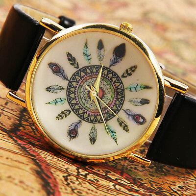 Women's  Golden Dress Rang Feather Numbers Wrist Watch Quartz Watches