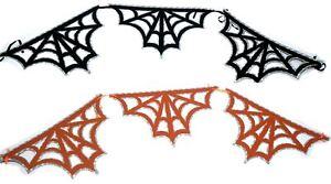 Set-of-2-Black-amp-Orange-Spider-Web-Bunting-Halloween-Wall-Decoration-Party-Kids