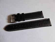 Gent's Old New Stock DARLENA Black Leather Wristwatch Strap 20 mm & Buckle