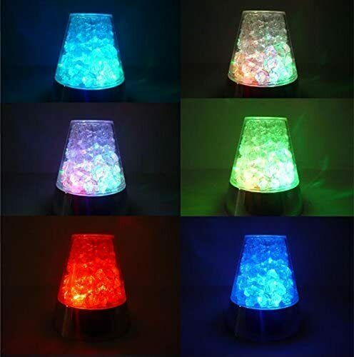 Multi Color Changing LED Fiber Optic Night Lamp with Glass Base