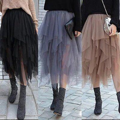 Punk Goth Puffy Swan Ballet Irregular Broom Fairy Tutu Tulle Long Skirt Dress