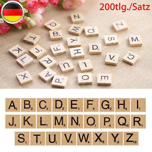 200-tlg-Scrabble-Spielsteine-Holz-Schwarze-Steine-Buchstaben-Alphabet-Brettspiel