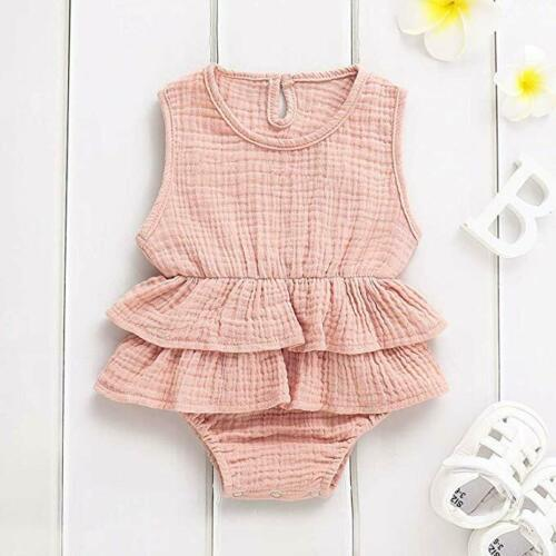 Newborn Baby Girl Ruffle Romper Bodysuit Jumpsuit Summer Outfits Clothes Sunsuit