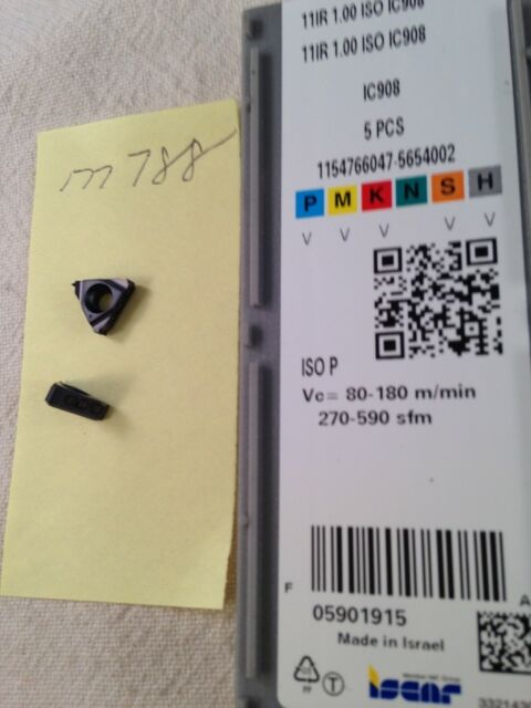 5 NEW ISCAR 11IR 1.00 ISO THREADING CARBIDE INSERTS. GRADE IC908 {M788}