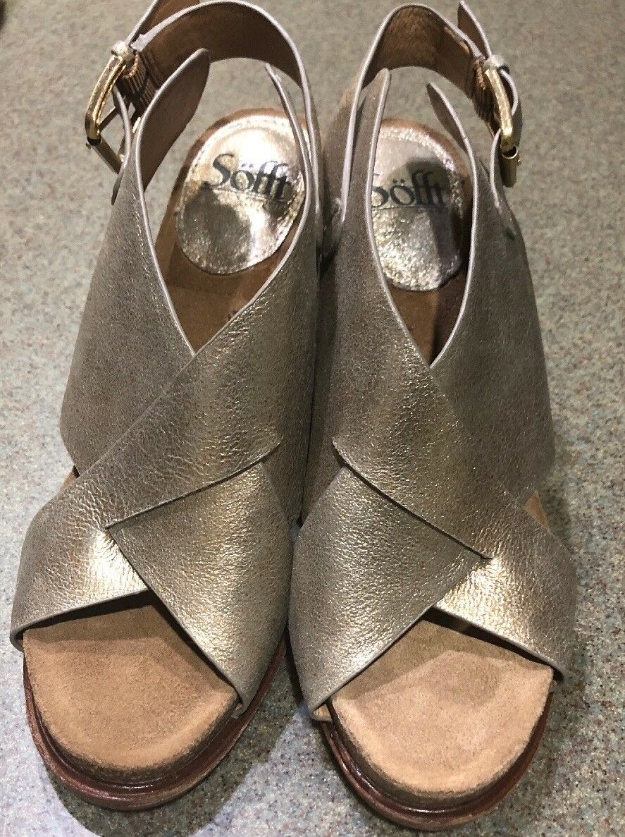 SOFFT peep toe leather crisscross side buckle heeled sandals Gold US 8.5 M