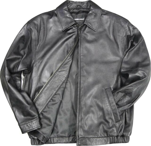 men's black lambskin leather bomber jacket size XL light weight