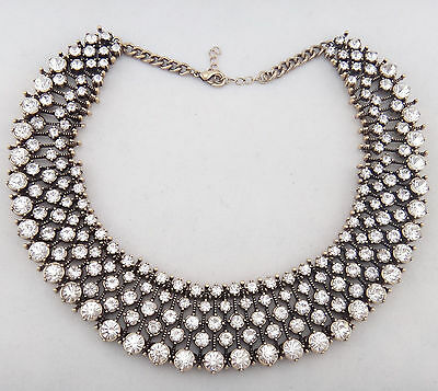 2015 Top Selling New Design Women Gorgeous Bib Statement Multi Crystal necklace
