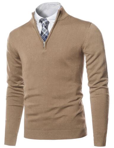 FashionOutfit Men/'s Classic Half Zip Up Mock Neck Basic Sweater Top