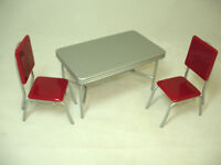Dollhouse 1950's Vintage Style Table & Red Chairs Set 1:12 Doll House Miniatures
