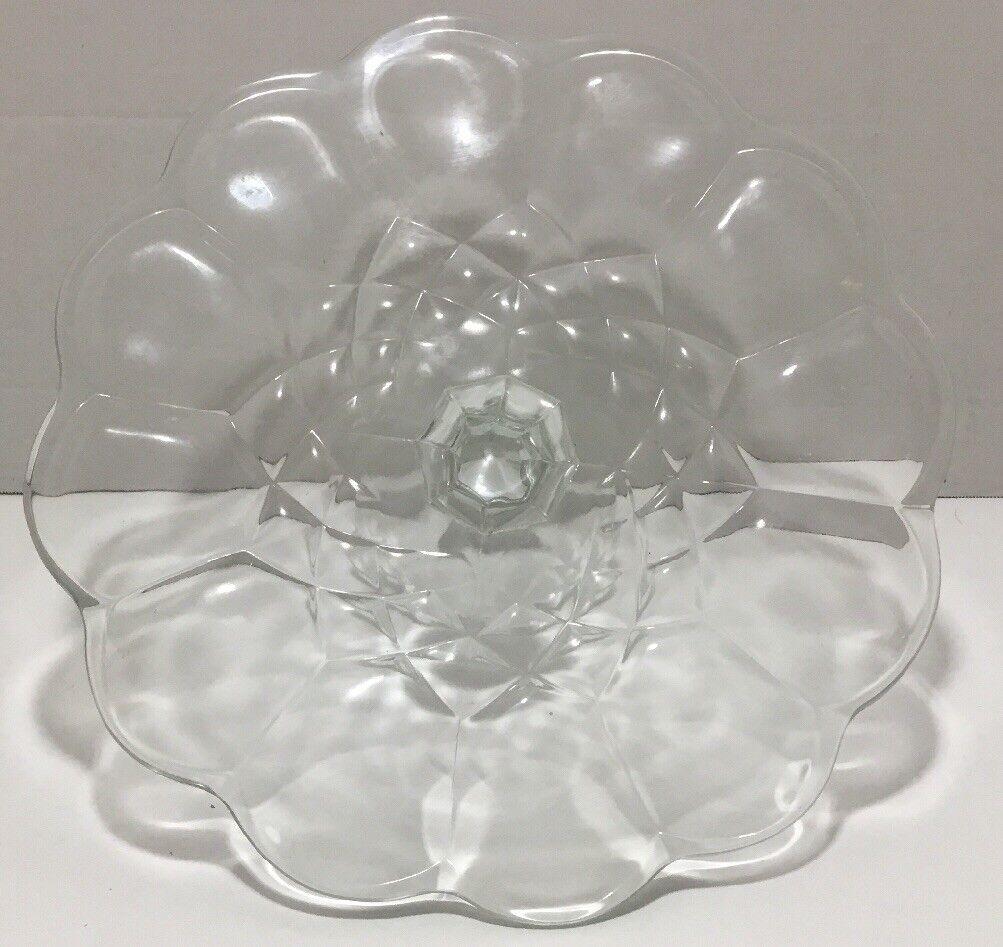 Vintage 11-1 2  Round Gyroscope Patterned Crystal Pedestal Cake Stand Plate