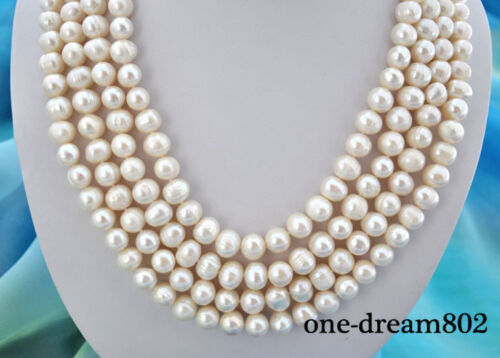 """4strands 22/"""" 11mm round white freshwater pearl necklace"""